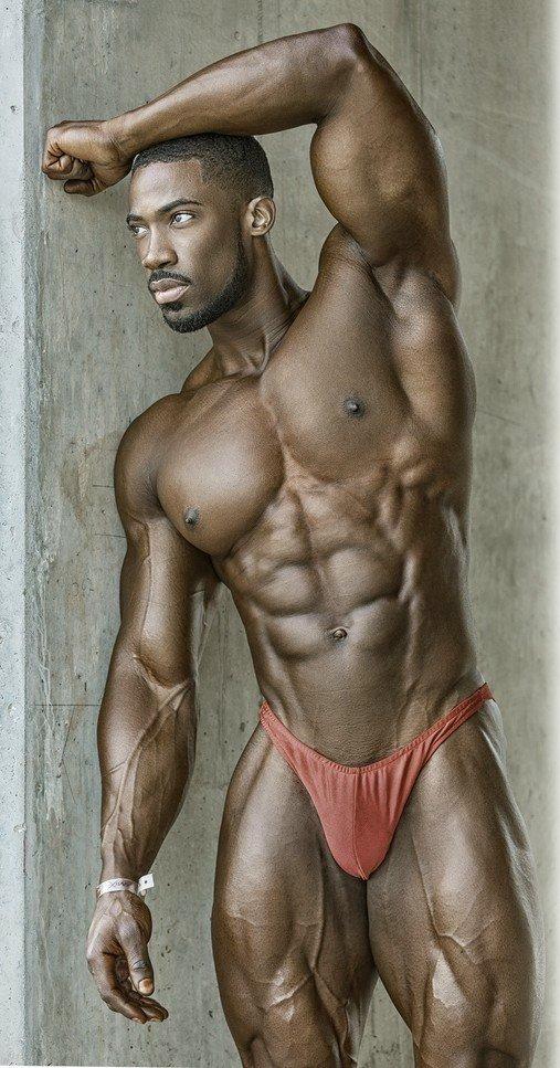Naked torso of african man posing