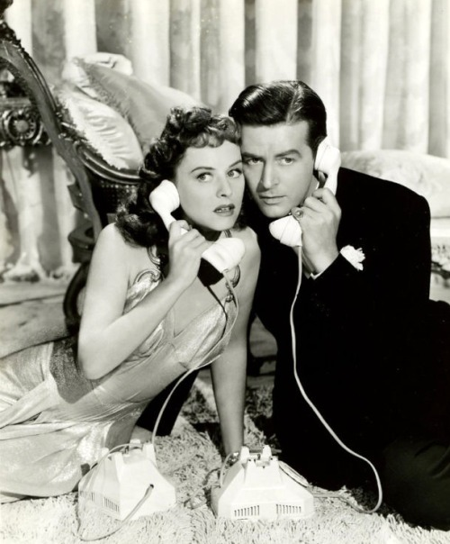 Paulette Goddard and Ray Milland on the phone