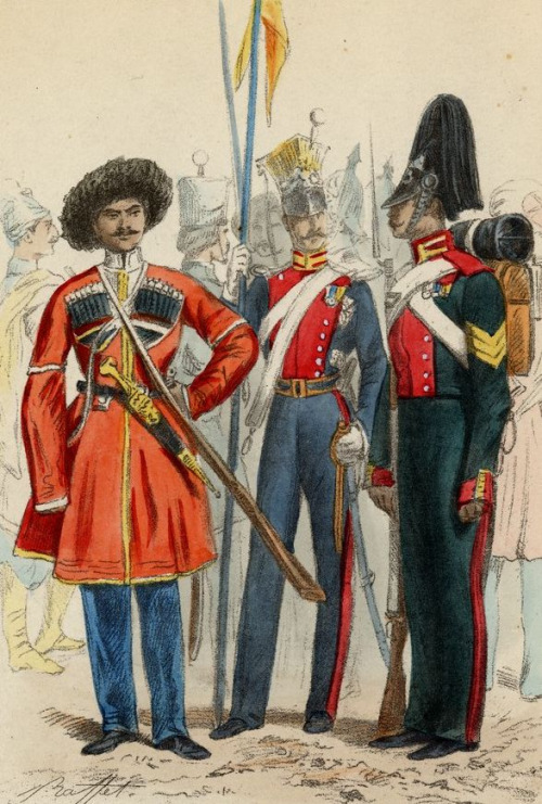 Russian army officers by Auguste Raffet,1854