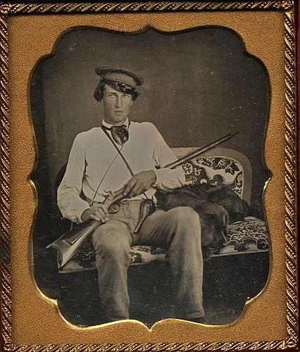 Man with his dog and gun, US Civil Warera