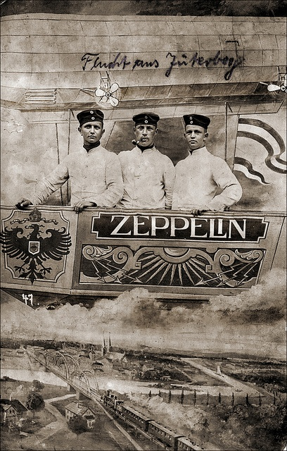 Three men together in a zeppelin, Germany