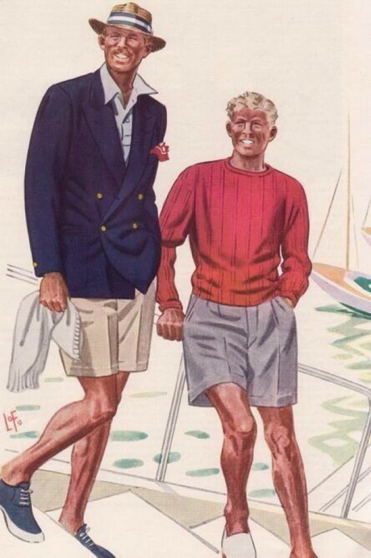 1930s Men's Nautical Wear, illustration by L. Fellowes for Esquire magazine