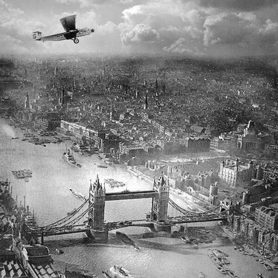 Aerial photograph of The Tower of London and Tower Bridge by Alfred G. Buckman, circa 1920