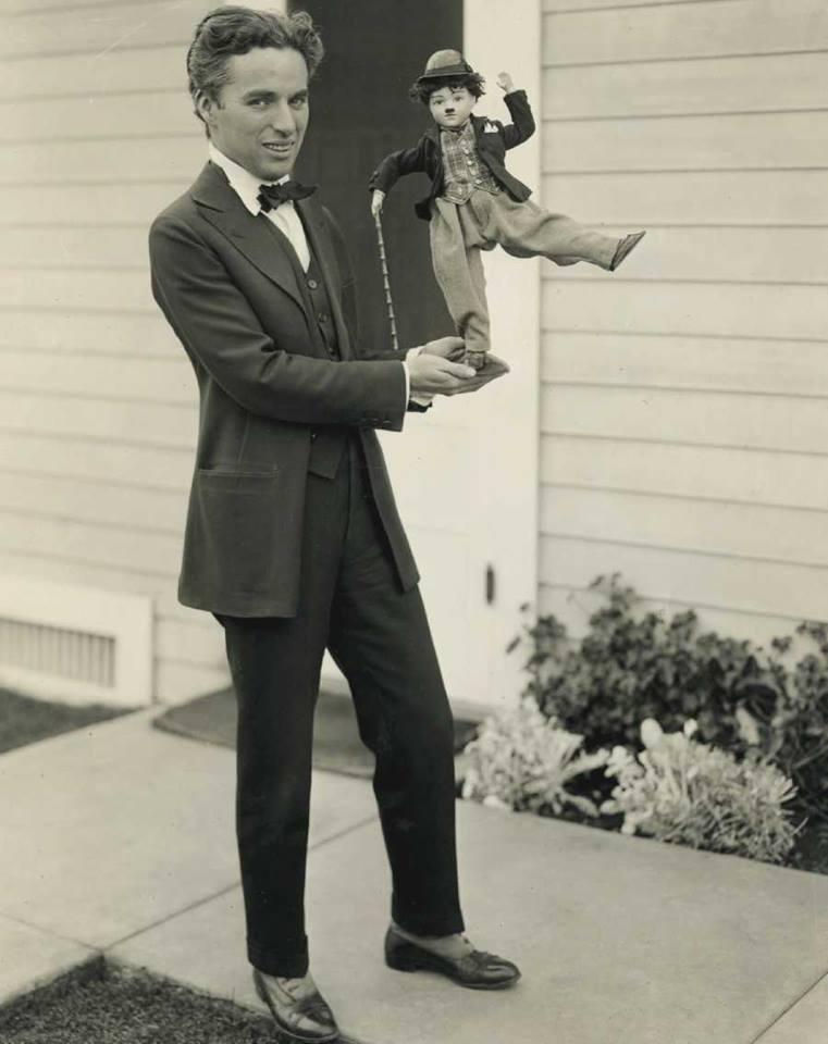 Charlie Chaplin and a little trampdoll
