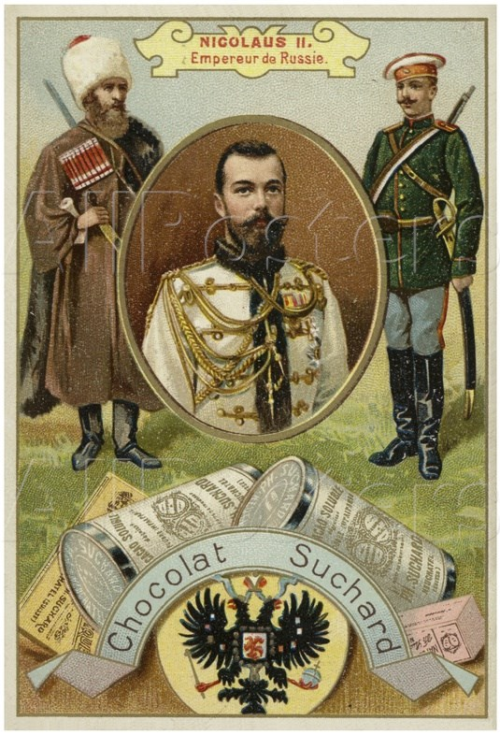 Tsar Nicholas II, card from an old Chocolat Suchard box