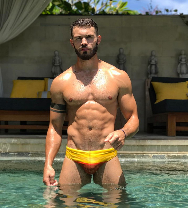 Bearded Swimwear Model