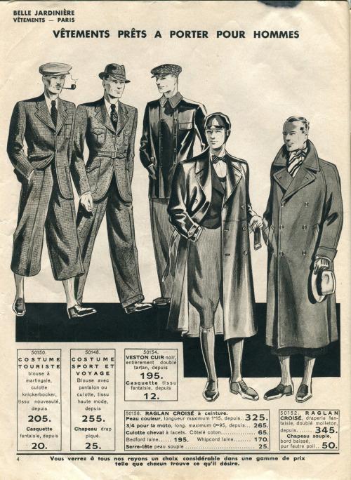 Vetements prets a porter pour hommes,1920s