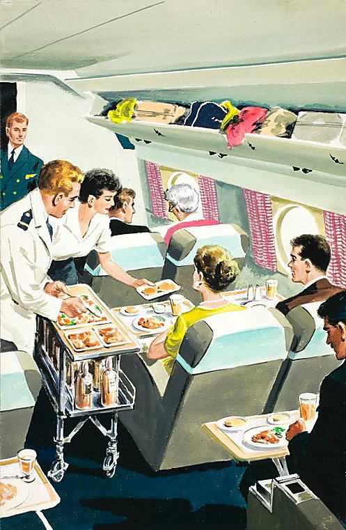 Airplane food service, early 1950s