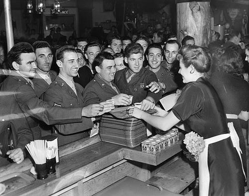 Bette Davis serving the troops at the Hollywood Canteen, WWII