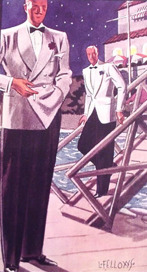 Summer evening fashions for men, illustration by L. Fellows for Esquire magazine,1930s