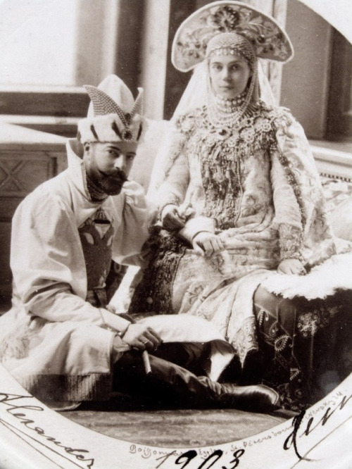 Russian Grand Ducal couple Alexander Mikhailovich and Xenia Alexandrovna in costume ball attire, 1903