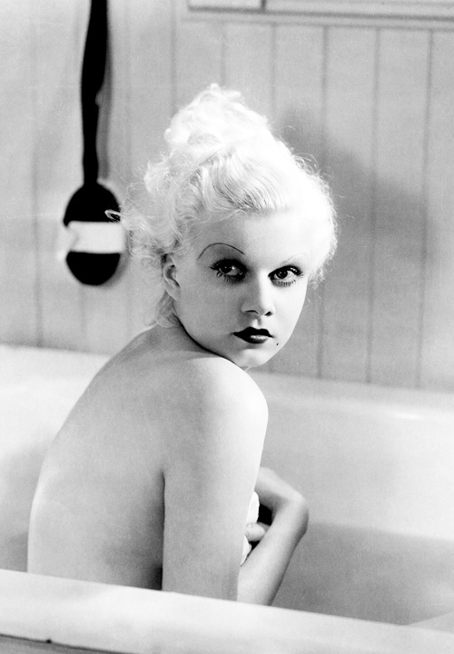 Close up of Jean Harlow in a bathtub