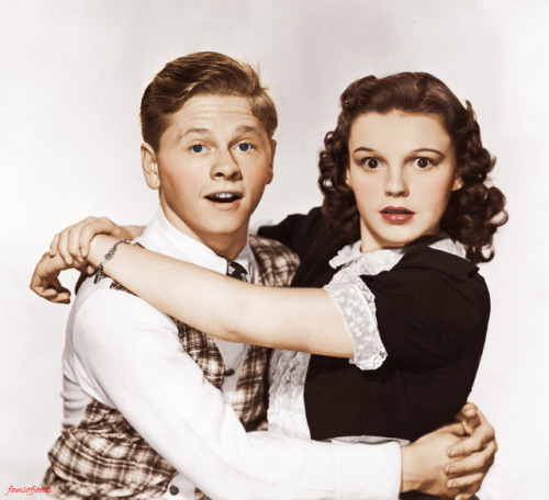 "Young Mickey Rooney and Judy Garland in a promo shot for ""Love Finds Andy Hardy"", 1938"