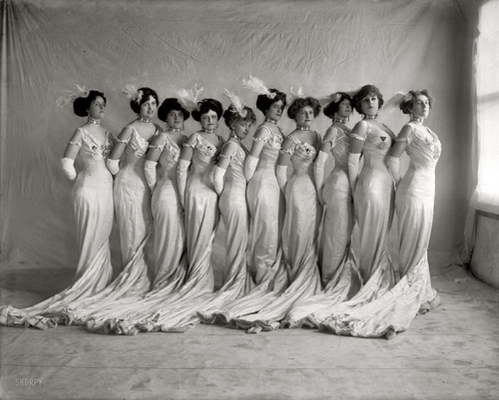 Vintage women, all in a row