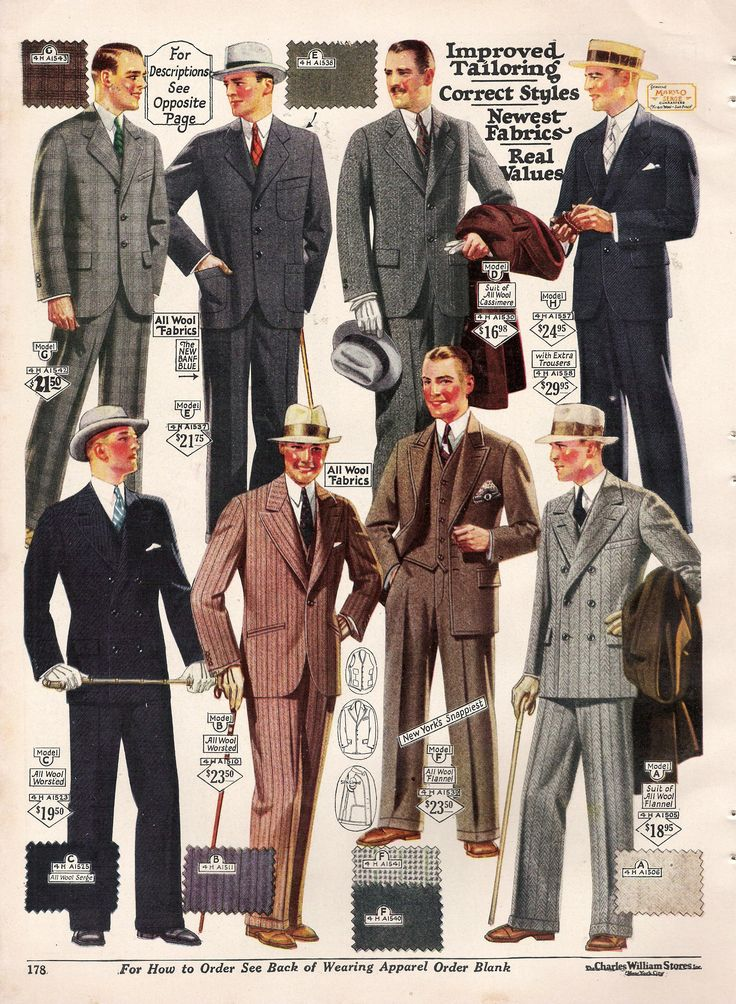 Men's suits and hats, early 1930s