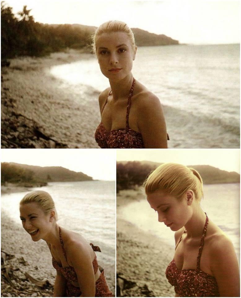 Grace Kelly on a beach in Jamaica,1950s