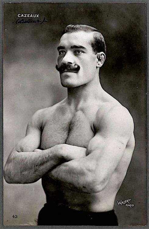 Vintage mustachioed athlete, France
