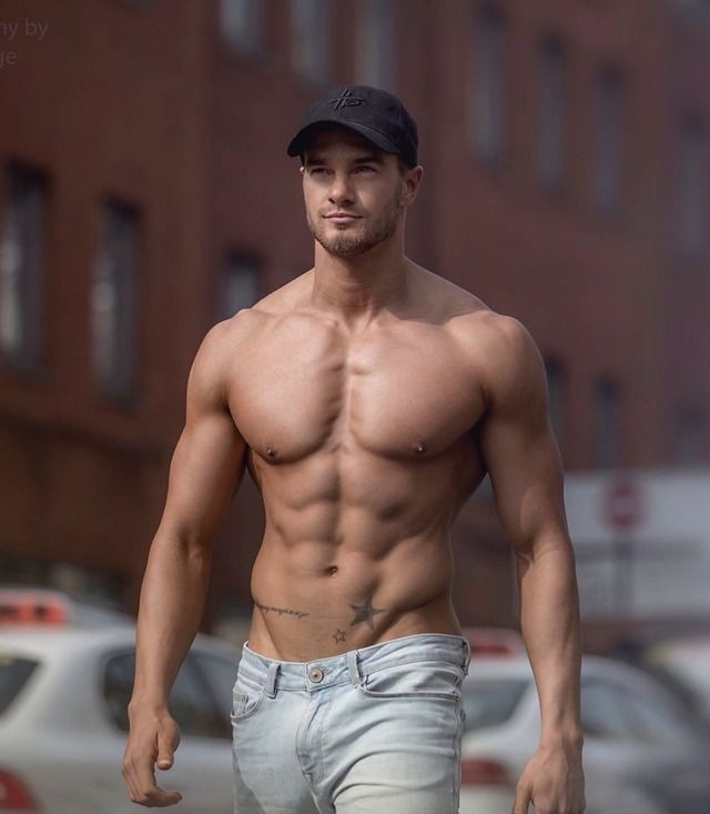 Model with a cap