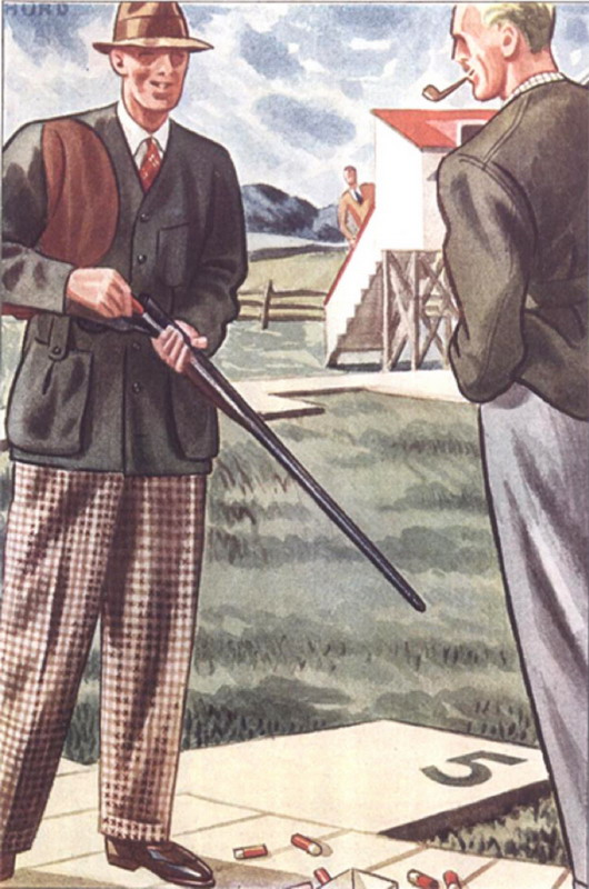 Skeet shooting attire by L. Fellows for Esquire magazine,1930s