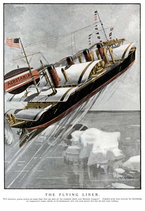 """Aerotania, The Flying Liner"" illustration in response to the sinking of the Titanic, 1912"