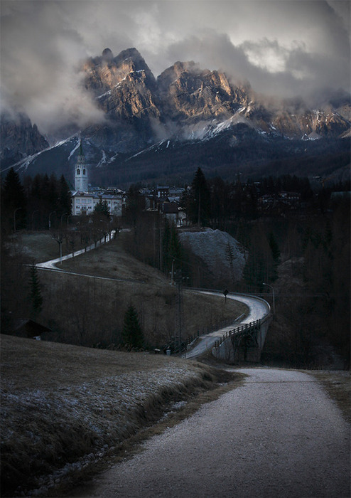 Village up in the Dolomites,Italy