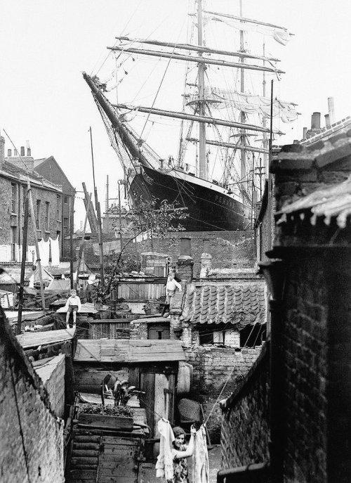 Ship in dry dock,London