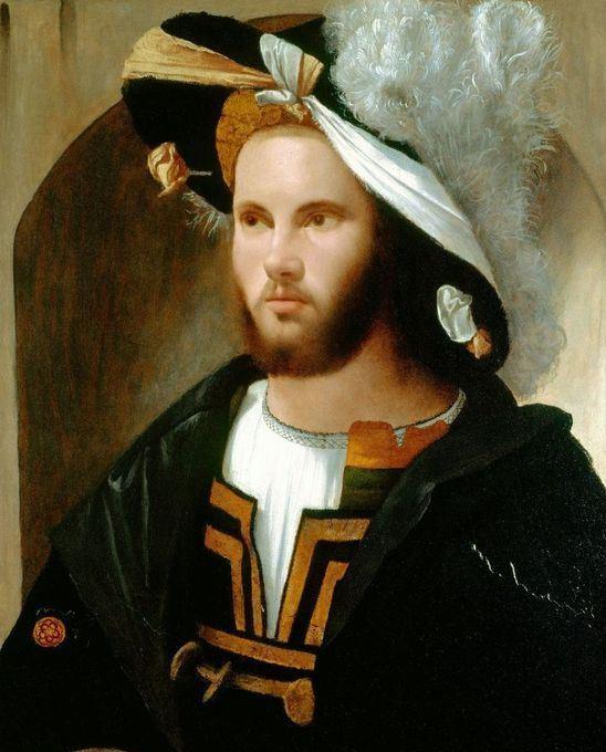 Portrait of a Man (in a splendid hat), by Girolamo Romanino,1517