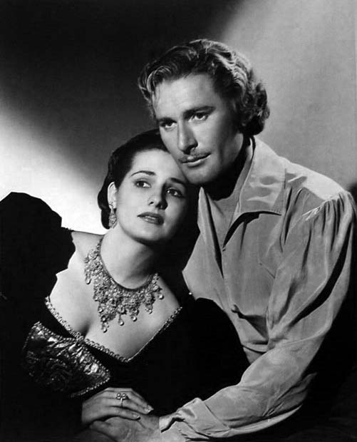 "Brenda Marshall and Errol Flynn in a promo shot for ""Sea Hawk"""