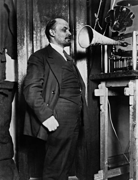 Vladimir Lenin recording a speech in the Kremlin, 1919