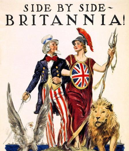 Uncle Sam and Britannia united as allies duringWWI