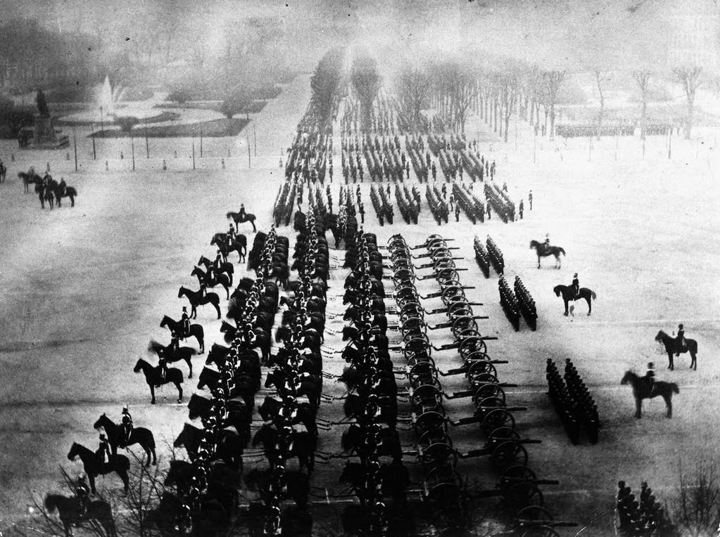 Prussian (German) Army parading in Paris, 1871