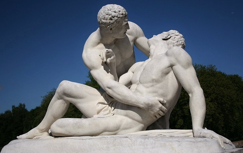 Emperor Hadrian holding his boyfriend, Antinous, after he had been stabbed by anassassin