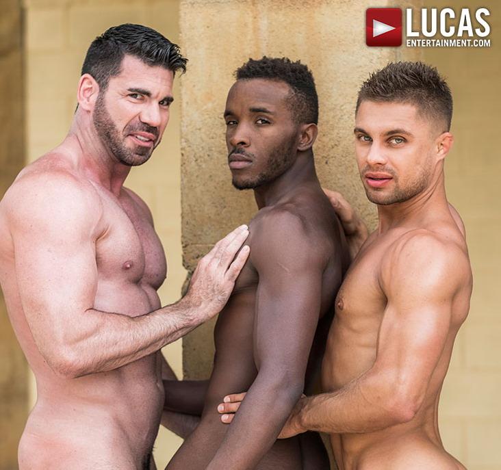Three shirtless mentogether
