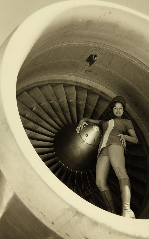 From an airline promo/ad with a flight attendant in a jet engine,1960s