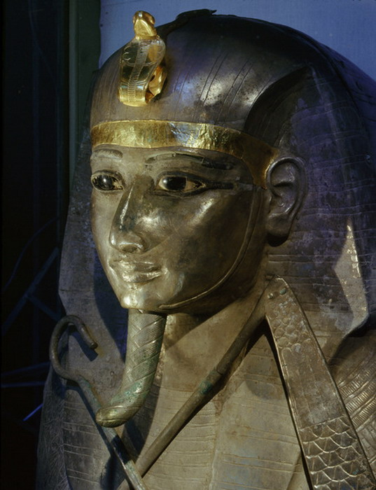 Head of silver coffin of Psusennes,Egypt