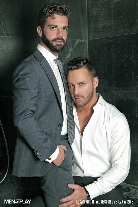 Dutch model Logan Moore (seated) and Spanish model Hector De Silva(standing)
