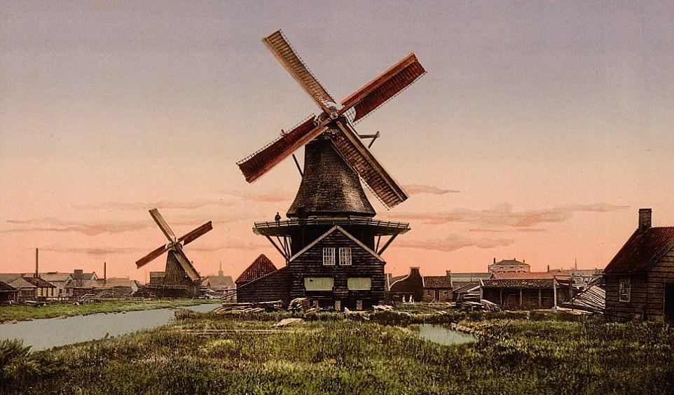 Dutch windmills, circa1910