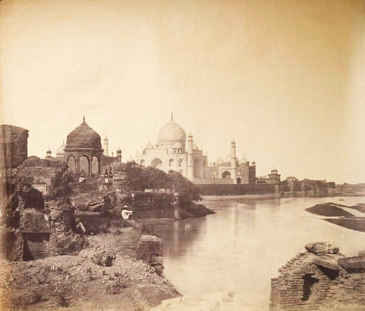 First known photo of the Taj Mahal, India, 1855