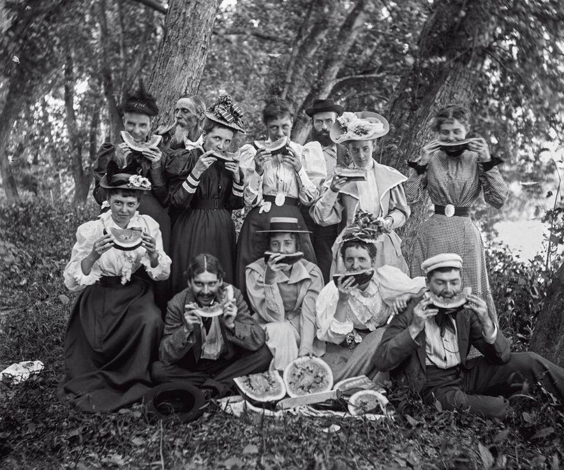 An old fashioned watermelon party,Maine