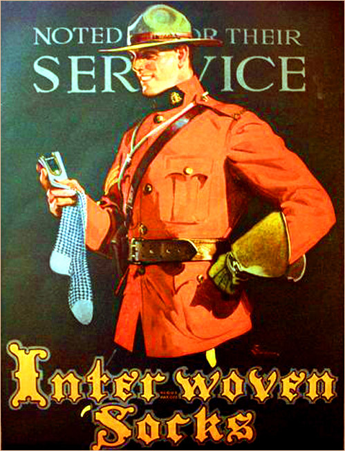Canadian Mountie in a Inter-Woven Socks ad, 1910s
