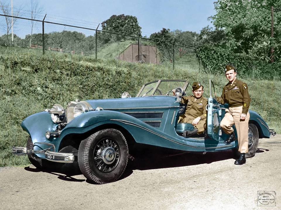 Hermann Göring's Mercedes 540K after being captured by Allied troops, WWII