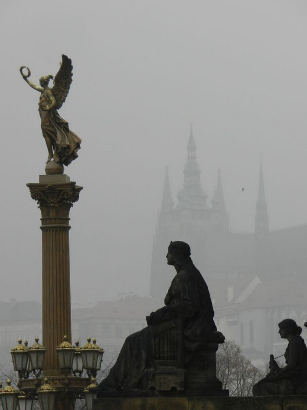 Prague on a foggy day