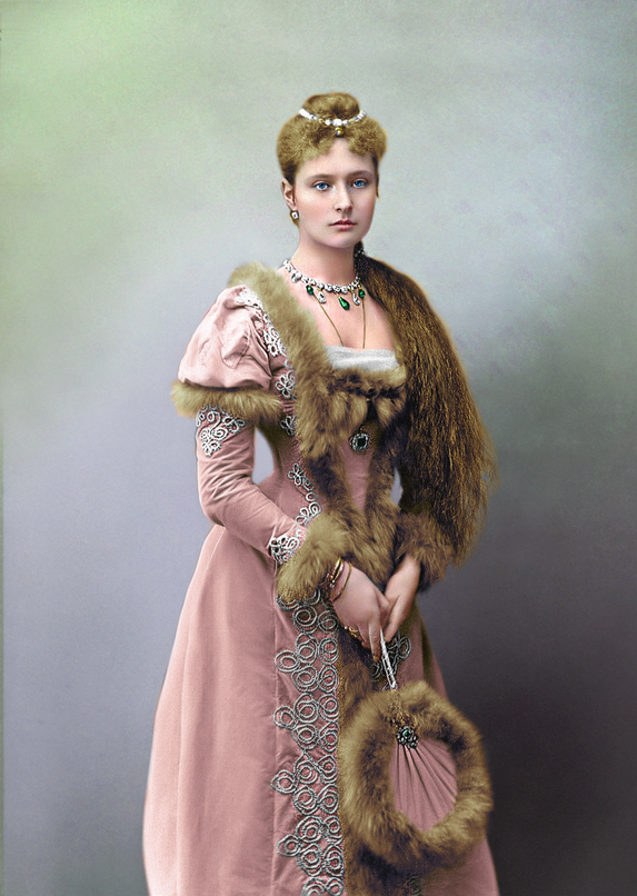 Princess Alix of Hesse, later Empress Alexandra Feodorovna of Russia, dressed for a costume ball, 1891