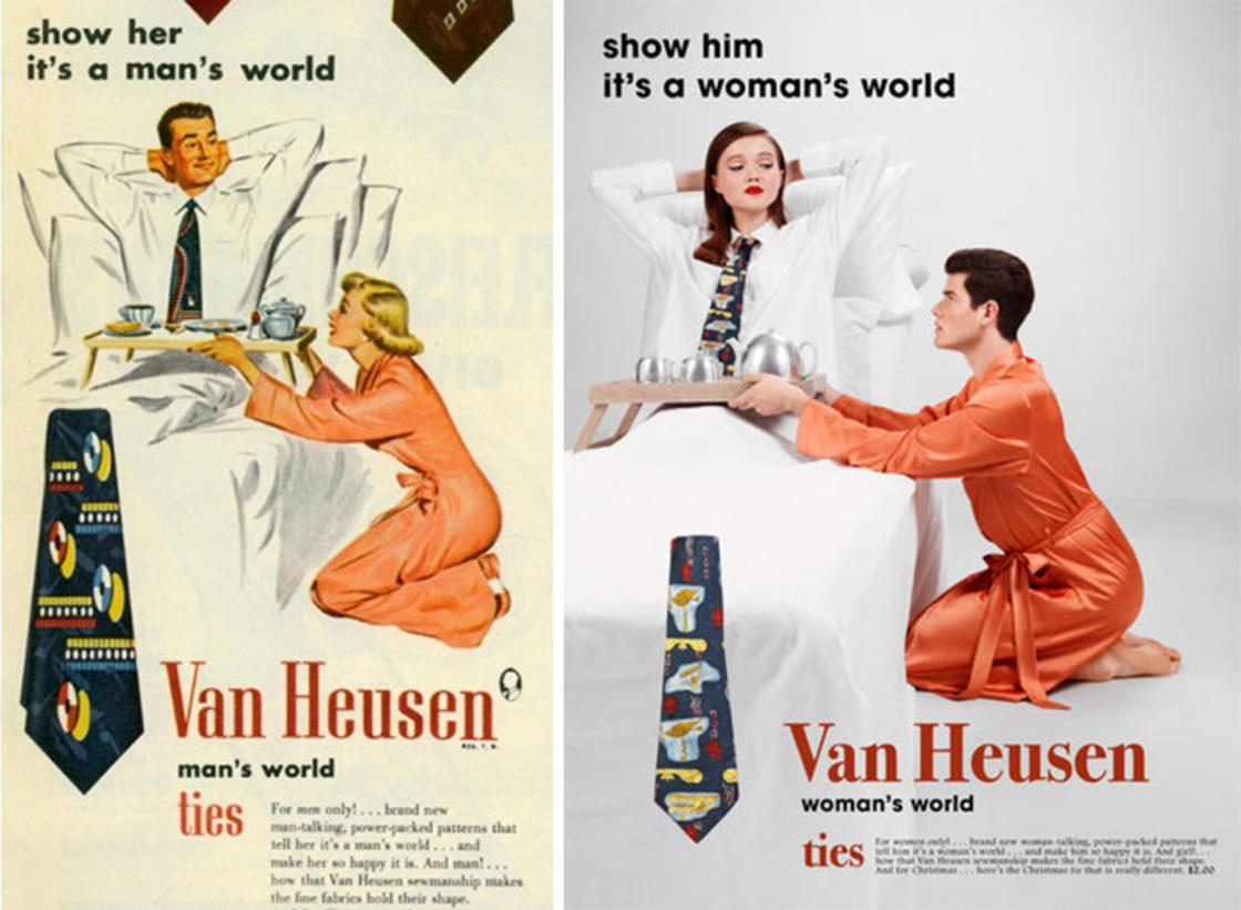 Recreating one of Van Heusen's sexist print ads from the 1950's with a 2010'stwist