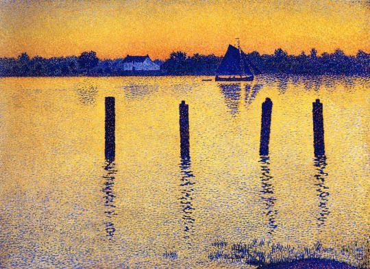 """Sailboats on the River Scheldt"" by Theo van Rysselberghe, Belgium"