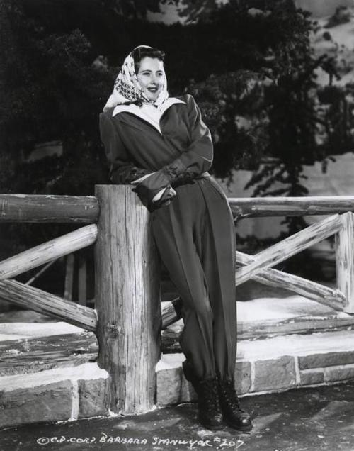 Barbara Stanwyck up in the mountains ofCalifornia