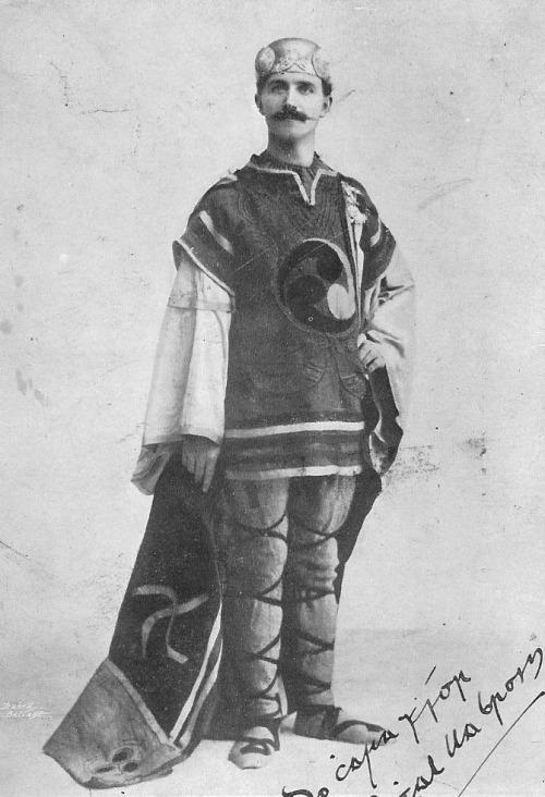 Irishman in traditional Gaelic Chieftain clothing andhelmet