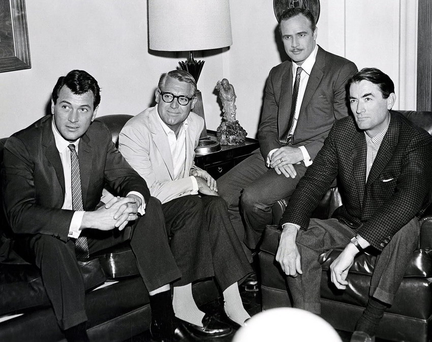 Four Hollywood Hunks: Rock Hudson, Cary Grant, Marlon Brando, and Gregory Peck