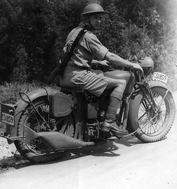 Australian soldier on a motorcycle, WWII,1942