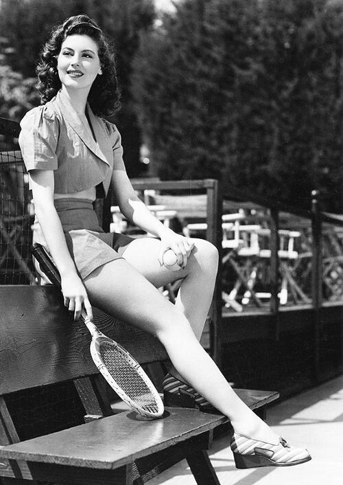 Young Ava Gardner at the tennis court